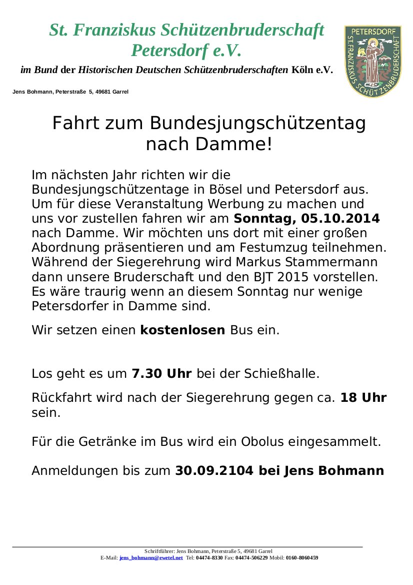Bekanntmachung BJT2014 in Damme